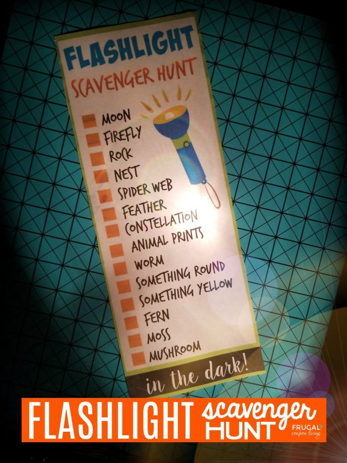 Outdoor Night Flashlight Scavenger Hunt Printable for Kids
