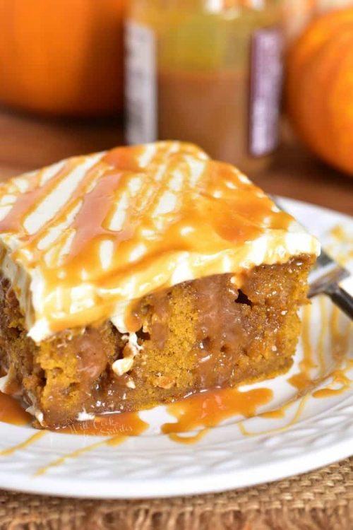 Salted Caramel Pumpkin Cake for Fall